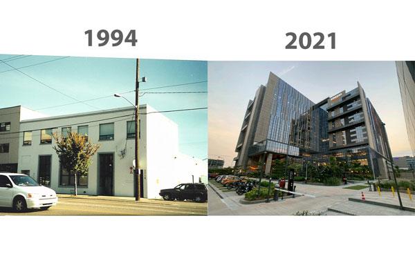 اولین دفتر کار آمازون در سمت چپ . دفتر کار امروزی در سمت راست